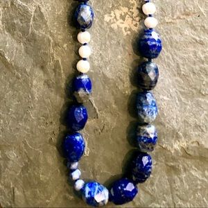 Beautiful lapis hand strung necklace w/leather